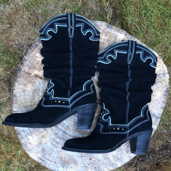Report Shoes - Embellished black suede mid-calf boots